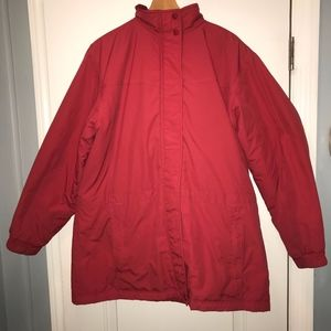 LL Beans Womens Hooded Thinsulate Red Winter Coat